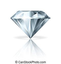 vecteur, blanc, diamant, isolé, illustration