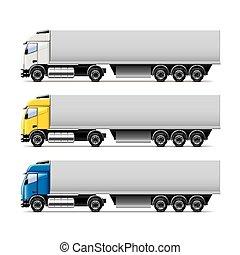 vecteur, blanc, ensemble, camion, isolé