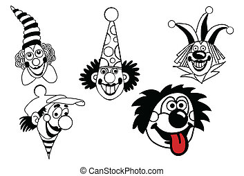 vecteur, blanc, ensemble, fond, clown