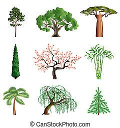 vecteur, blanc, ensemble, isolé, arbres