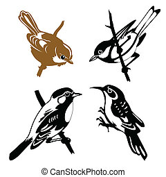 vecteur, blanc, ensemble, oiseaux, fond