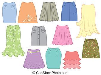 vecteur, blanc, femme, mode, jupes