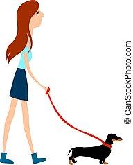 vecteur, blanc, girl, marche, arrière-plan., illustration, chien