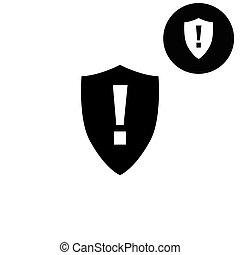 vecteur, blanc, icône, -, danger