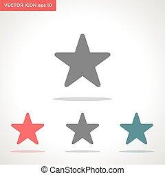 vecteur, blanc, icône, isolé, étoile, fond