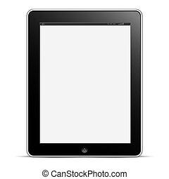 vecteur, blanc, informatique, fond, tablette