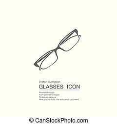 vecteur, blanc, isolé, glasses., arrière-plan., dessiné