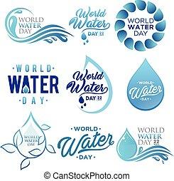 vecteur, blanc, lettre, fond, ensemble, mondiale, concevoir élément, eau, jour