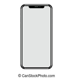 vecteur, blanc, smartphone, isolé, fond