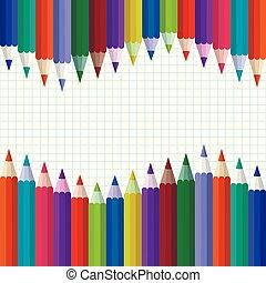 vecteur, blank., école, dos, accueil, blanc, crayons, couleur, illustration.