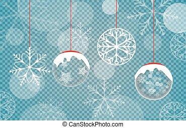 vecteur, bleu, illustration, flocons neige, fond, noël
