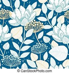 vecteur, bleu, or, floral, seamless, modèle