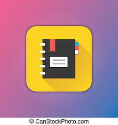 vecteur, bloc-notes, icône