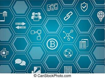 vecteur, blockchain, arrière-plan bleu, bitcoin, polygone, ...