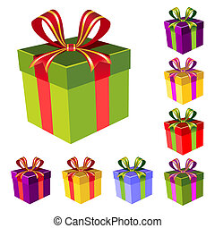 vecteur, boîte-cadeau, ensemble