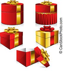 vecteur, boîtes, ensemble, cinq, cadeau