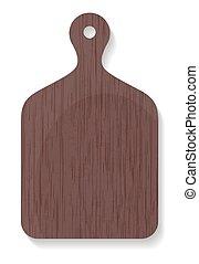 vecteur, bois, isolé, illustration, planche découper, fond, blanc