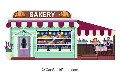 vecteur, boulangerie, dessin animé, bâtiment, illustration,...