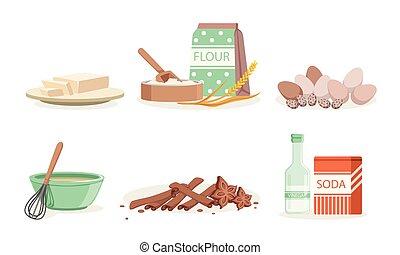 vecteur, boulangerie, isolé, ingrédients, fait maison, cuisine, fond blanc, ensemble, ustensiles, illustration, outils