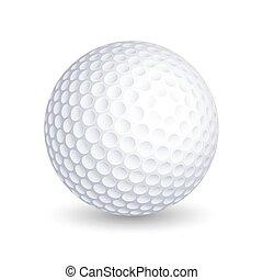 vecteur, boule blanche, golf, fond