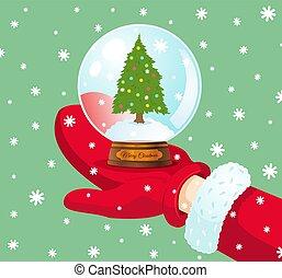 vecteur, boule de neige, noël, arbre.