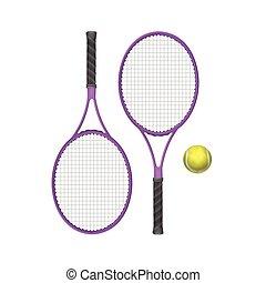 vecteur, boule tennis, raquettes