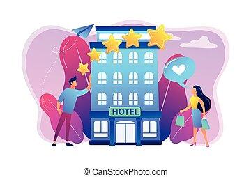 vecteur, boutique, concept, illustration., hôtel