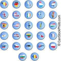 vecteur, boutons, à, drapeaux, de, les, rue