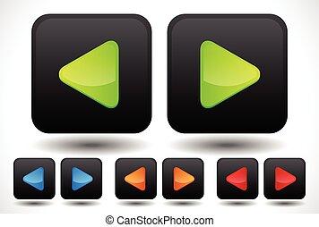 vecteur, boutons, ensemble, arrondi, bleu, icons., couleurs, flèche droite, included., orange, vert, gauche, rouges, illustration.