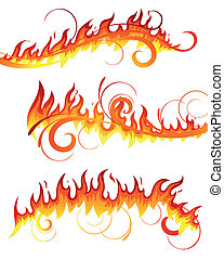 vecteur, brûler, éléments