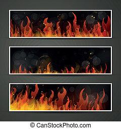 vecteur, brûler, bannières