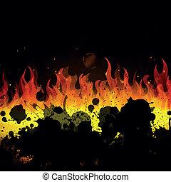 vecteur, brûler, flammes