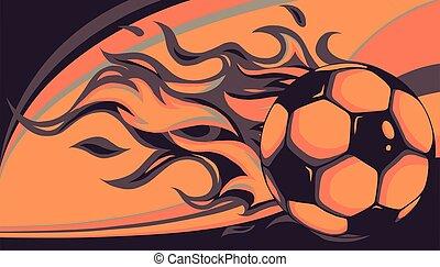 vecteur, brûler, football, conception, balle, illustration