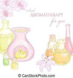 vecteur, brûleur pétrole, illustration, fleurs, ensemble, huiles, lis, essentiel, orchidée