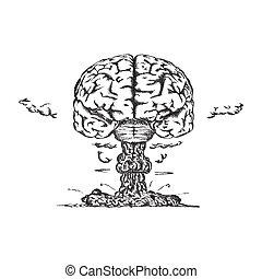 vecteur, brain., concept, créativité, humain