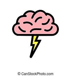 vecteur, brain-storming, icône