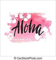 vecteur, branché, main, lettrage, affiche, aloha