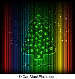 vecteur, brillant, sapin, fond, arbre