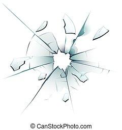 vecteur, brisé, fissures, balle, cassé, tessons, illustration, isolé, verre, vitreux, surface, verre, réaliste, toqué, trou, fenêtre.