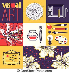 vecteur, brosses, art, illustration., banner., tablet., pomme, lampe, esquisser, aquarelle, fleurs, visuel, graphique, encre, fournitures, peinture, pictute, outils, dessin, crayon
