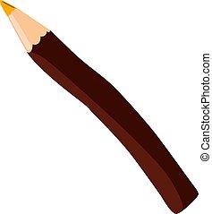 vecteur, brun, crayon, blanc, arrière-plan., illustration