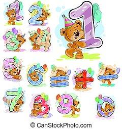 vecteur, brun, symbols., chiffres, ours peluche, ensemble, illustrations, mathématique