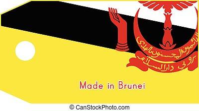 vecteur, brunei, fait, mot, coût, isolé, illustration, drapeau, étiquette, fond, blanc
