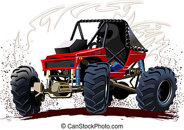 vecteur, buggy, dessin animé