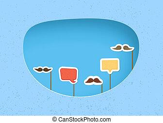 vecteur, bulle, bâtons., parole, moustaches, illustration.