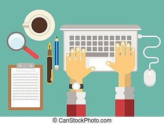 vecteur, bureau affaires, lieu travail