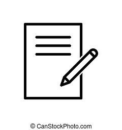 vecteur, bureau, bloc-notes, toile, logo, média, papier, crayon, icône, social, illustration, ui, contour, mobile, app, site, graphisme