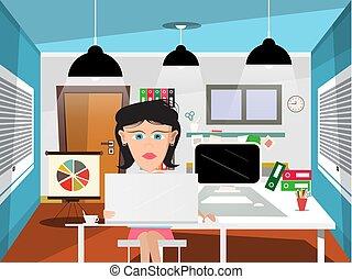 vecteur, bureau, illustration, secrétaire