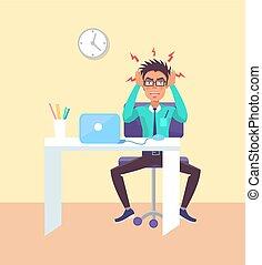 vecteur, bureau, ouvrier, illustration, fonctionnement