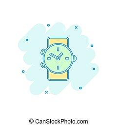 vecteur, business, horloge, concept., montre, effet, minuteur, signe, dessin animé, éclaboussure, illustration, comique, style., pictogram., icône